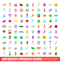 100 beauty product icons set cartoon style vector image