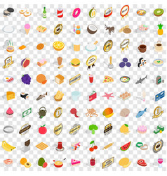 100 delicious icons set isometric 3d style vector