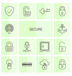14 secure icons vector