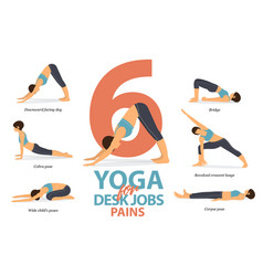 6 yoga poses for desk jobs pains in flat design vector