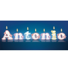 ANTONIO written with burning candles vector