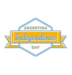 argentina independence day greeting emblem vector image