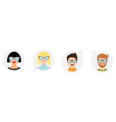 avatar people icon set line cute cartoon vector image