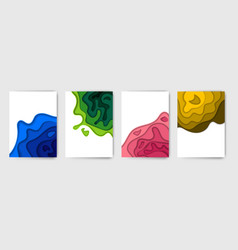 Banners set with abstract background and paper cut vector