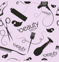 Beauty salon and hair stylist seamless pattern vector