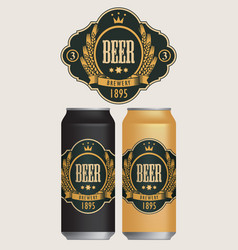 Beer labels for two beer cans vector