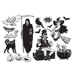big set halloween objects vector image