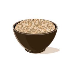 Bowl full of brown lentils vector