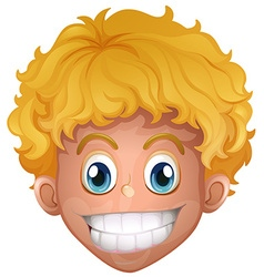 Boy with blond hair smiling vector