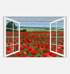 bright poppy field with bushes vector image