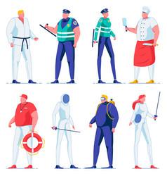 Cartoon swordsman fencing sport police officer vector