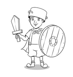 child in wooden armor coloring vector image