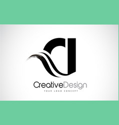 Ci c i creative brush black letters design with vector