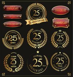 Collection of anniversary retro laurel wreats 25 vector
