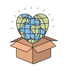 Colorful silhouette closeup globe earth world in vector