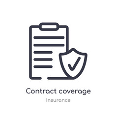 Contract coverage outline icon isolated line from vector