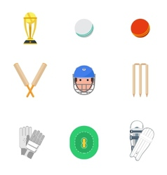 Cricket icons set flat vector