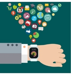 Digital smart watch vector