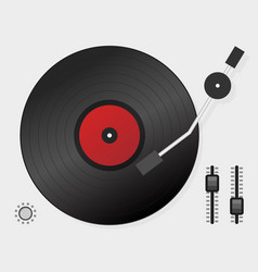 Dj playing vinyl top view dj interface workspace vector