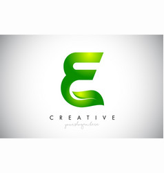 E leaf letter logo icon design in green colors vector