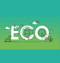 eco world lettering composition flat vector image