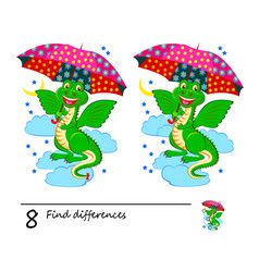 find 8 differences cute dragon holding vector image
