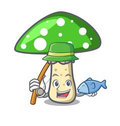 Fishing green amanita mushroom mascot cartoon vector