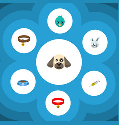 Flat icon animal set of bunny puppy sparrow and vector