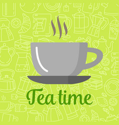 flat icon cup of tea isolated on background vector image