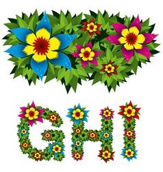 Flowers alphabet 03 vector