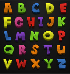font design for english alphabets in many colors vector image