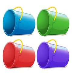 Four empty pails vector