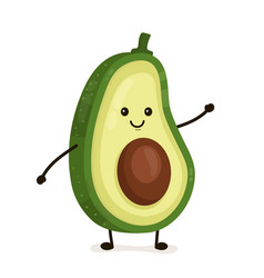 Funny happy cute happy smiling avocado vector
