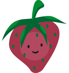 funny smyley cartoon pink strawberry with eyes vector image