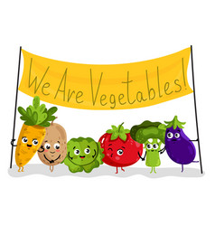 Funny vegetable isolated cartoon characters vector