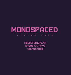 Futuristic font minimalist monospace geometric vector