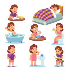 Girl daily activities children life morning vector