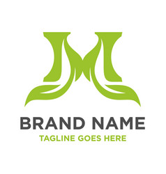 Green leaf logo initials m vector