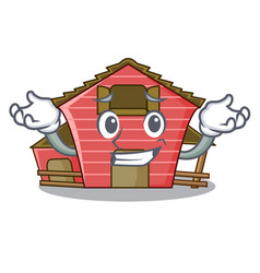 Grinning a red barn house character cartoon vector
