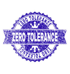 Grunge textured zero tolerance stamp seal with vector