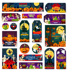 halloween night trick or treat celebration tag vector image