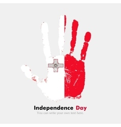 Handprint with the Flag of Malta in grunge style vector