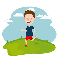 happy boy running in the field vector image vector image