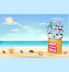 hot summer sale shopping bag vector image