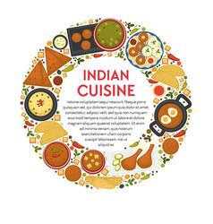 indian cuisine restaurant menu traditional food vector image