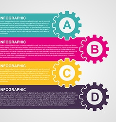 Infographic design style colorful gears vector image