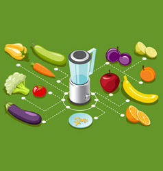 isometric healthy food concept vector image