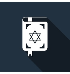 Jewish torah book icon with long shadow vector