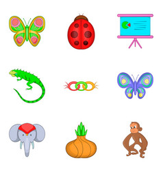 Learning biology icons set cartoon style vector