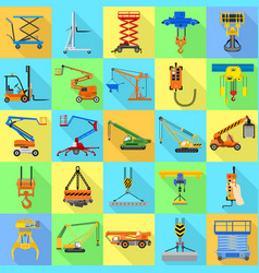lifting machine icon set flat style vector image